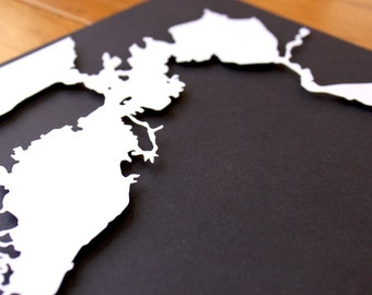 San Francisco Bay Silhouette - 8 x 10 original papercut