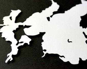 Leech Lake Silhouette - 8 x 10 original papercut