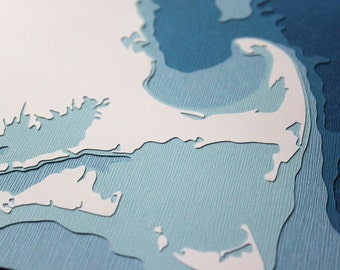 "Massachusetts Coastline - 8 x 10"" layered papercut art"