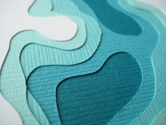 Topography in Aqua - Set of 4 handcut cards