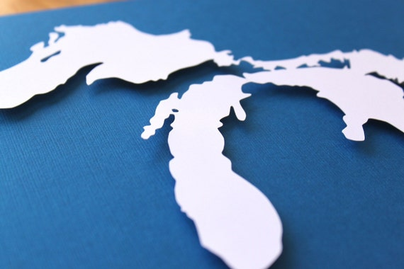 Great Lakes Silhouette - 8 x 10 original papercut
