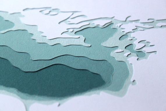 Lake Ontario - original 8 x 10 papercut art