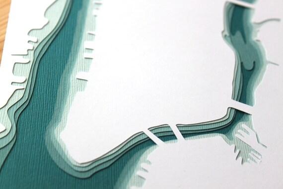 Manhattan- original 8 x 10 papercut art in your choice of color