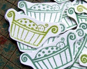 12 baby stickers (les enfants verts), 12 embossed stickers by KisforCalligraphy