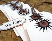 Hand Flourished Gift Tags, set of 6 hand drawn shipping tags