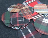 Tartan Stickers, sixteen 1.25 inch round, plaid stickers, envelope seals handmade by KisforCalligraphy
