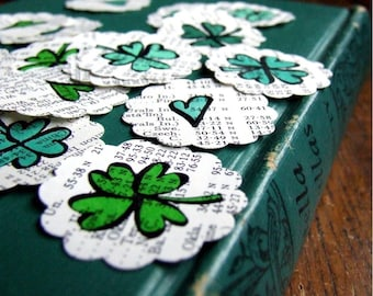 Get Lucky in Love Stickers, Shamrocks and Hearts, 20 Hand Drawn Stickers, St. Patricks Day Card Making, Green Stickers, Envelope Seals