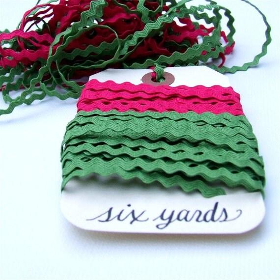 Six Yards of Festive Raspberry and Olive Ric Rac Ribbon