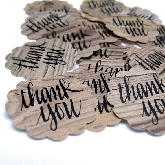 Rustic Wood Thank You Stickers, 20 hand lettered stickers handwritten thank you calligraphy by KisforCalligraphy