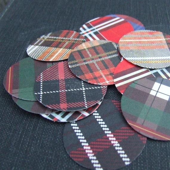 Tartan Stickers, sixteen 1.25 inch round, plaid stickers, envelope seals handmade by KisforCalligraphy