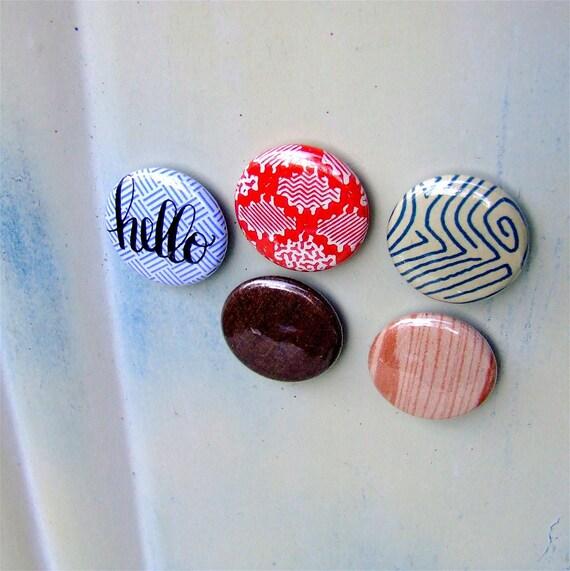 Hello Vintage Magnet Set, 5 kitchen fridge magnets,office studio, vintage paper