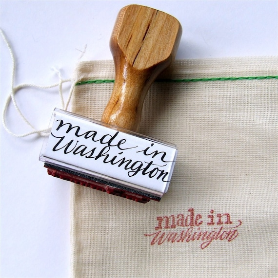 "Made in Washington Rubber Stamp, ""Calligraphy"" Stamp, State Stamp, Hand Lettering"