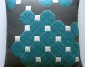 OCTAGON TILES FELT PILLOW in CHARCOAL and AQUA. made from recycled wool.