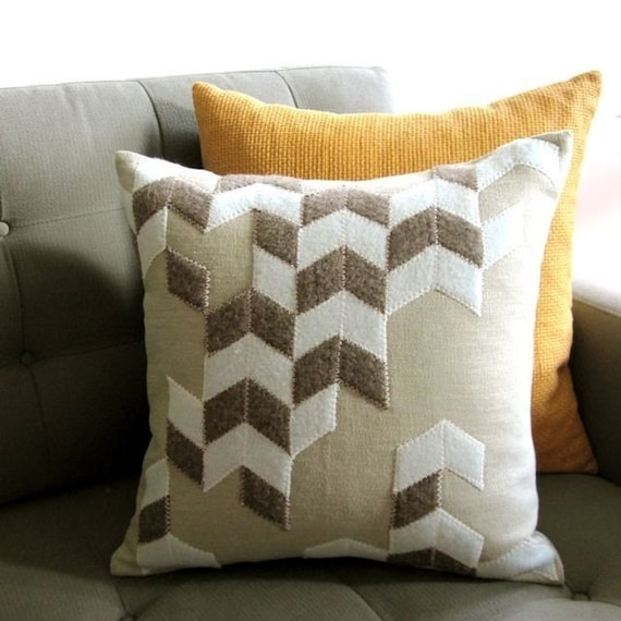 CHEVRON PATTERN FELT PILLOW made from recycled wool, in seafoam and earth colors