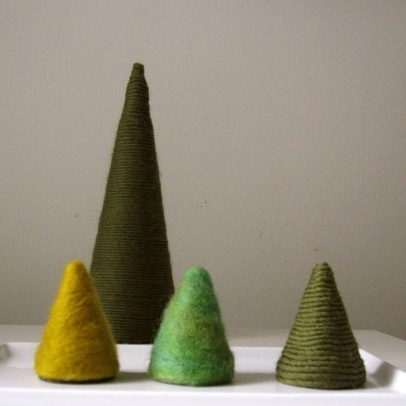 TREE FAMILY. needle felted and yarn covered wool trees.  set of 3 small trees.