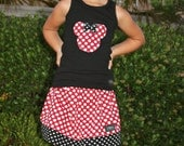 Minnie Mouse Skirt and Applique Tank Top Red Polka Dots FREE SHIPPING
