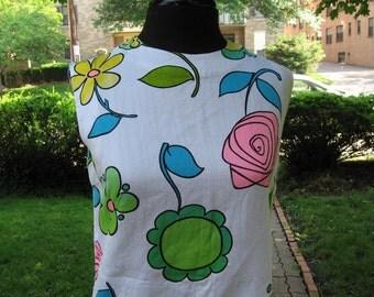 Vintage 1960s flower power cotton tunic blouse B 36