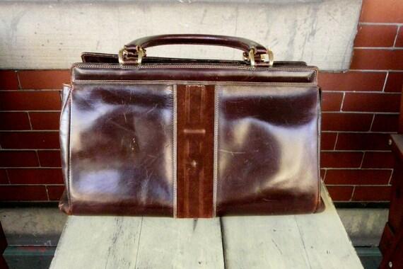 Take 20% off RARE Vintage dark brown leather speedy doctor's bag handbag