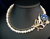 Brooch Necklace, Pearl Bridal Necklace, Something Blue, Flower Brooch, Pearl and Chain Wedding Jewelry  -  The Jane