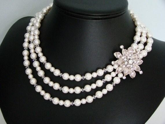 Pearl and Crystal Bridal Necklace, Rhinestone Wedding Jewelry, Flower Rhinestone, Snowflake, Vintage Brooch - The Astrid