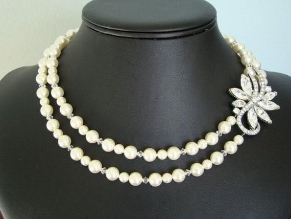 Rhinestone Brooch Bridal Necklace,  Pearl Wedding Necklace, Crystal Ivory Necklace  -  The Splendor