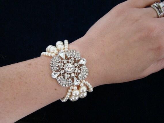 Vintage Style Wedding Bridal Bracelet, Rhinestone Bracelet Cuff, White Ivory Pearl Bridal Wedding Bracelet, Art Deco Bridal Jewelry-The Edna