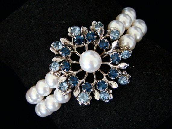 Pearl Bridal Bracelet, Rhinestone Bracelet, Something Blue, Wedding Jewelry, Vintage Jewelry - The Cole