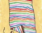 watercolor painting - beach towel stripes