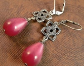 Forest Sunset - Fuchsia Pink Lucite & Silver Earrings