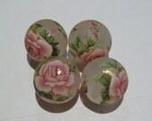 4 Matte leichte rosa rose japanische Tensha Acryl Perlen