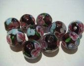 10 ziemlich dunkel lila floral Glas Glasperlen