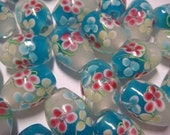 Turquoise-white oval floral lampwork glass beads