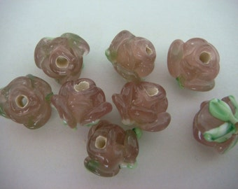 Handcrafted pink rose glass lampwork glass beads