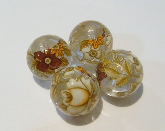 4 Clear glossy white rose Japanese tensha acrylic beads