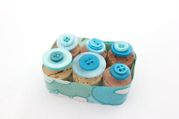 Vintage Blue ButtonThumbtacks. Extra long pins Perfect for Padded Fabric Notice Boards.