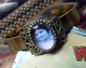 Annabel Lee - Vintage Photo Cameo / Victorian Filigree Cuff Bracelet