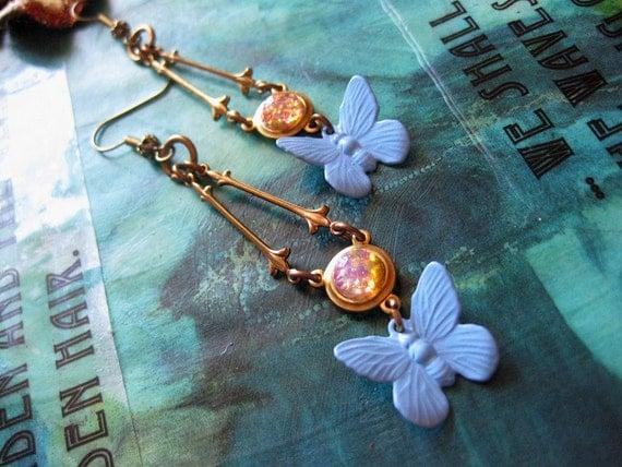 Petite Papillon Glass Fire Opal Earrings