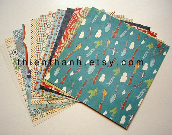 echo park 2012 papers pack - A Boys Life collection - set of 12 - double side cardstock - 6x6