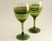 Irish Moss- Pair of Hand Painted Wine Glasses
