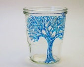 Snow Covered Tree-Painted Art Glass Vase-Blue White-Handmade Home Decor-