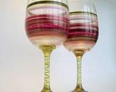 Shades of Garnet Red- Hand Painted Wine Glasses- Original Pair