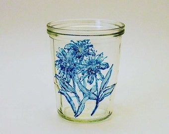 Hand Painted Glass Vase-Blue and White Flowers- Original Home Decor