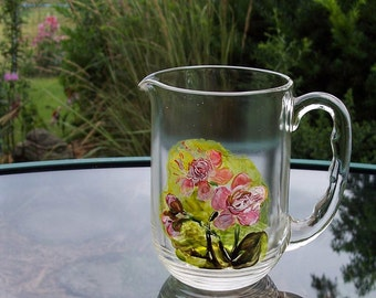 Hand Painted Floral Small Vintage Pitcher- One of a Kind Original Glass