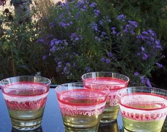 Four Hand-Painted Rocks Glasses Modern Contemporary Original Glassware Barware
