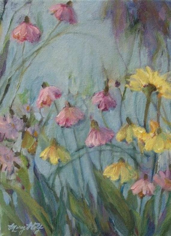 Summer Flower Garden- Original Impressionist Floral Painting-  Acrylic on Canvas- 9x12