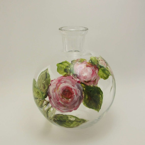 Hand Painted Glass Vase with Roses- Original Home Decor Glass Art