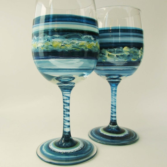 Pair Hand Painted Wine Glasses- Deep Blue- Wedding Decor