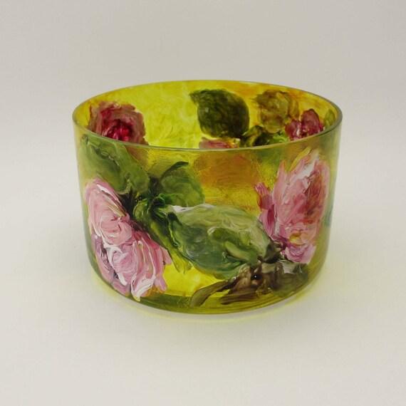 Hand Painted Art Glass Flower Bowl Vase- Garden Roses- Sunlight on Pink Blossoms