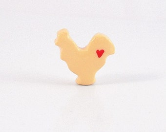 Yellow Rooster Figurine with Hearts