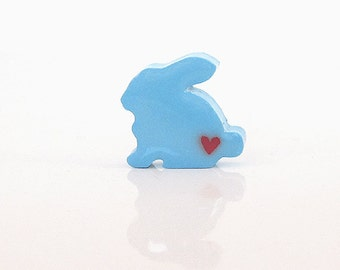 Blue Bunny Figurine with Hearts